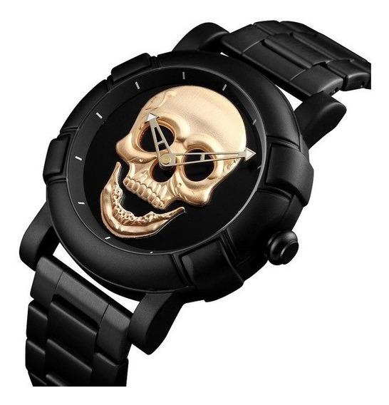 Relógio Skmei Skull Crânio 3d Dourado Gold Caveira Original