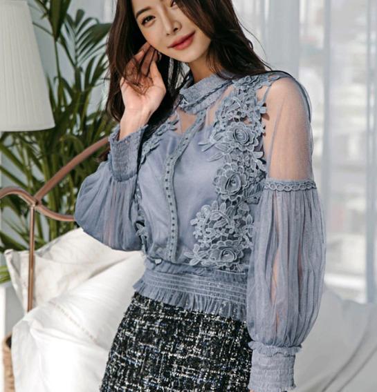 Blusa Camisa Social Com Renda Luxo Moda Feminina Importada