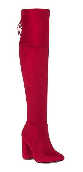 Bota De Vestir Yaeli Fashion 8017 Rojo Tipo Ante Strech Tacon 10cm 828685