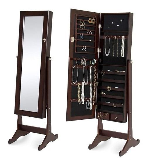 Armario Para Joyas Con Espejo Organizador Elegante Marron