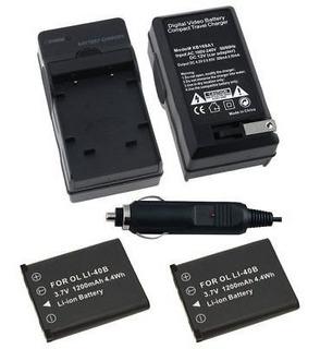Set De 2 X 1 X Cargador Y La Batería Para Olympus Li-40b