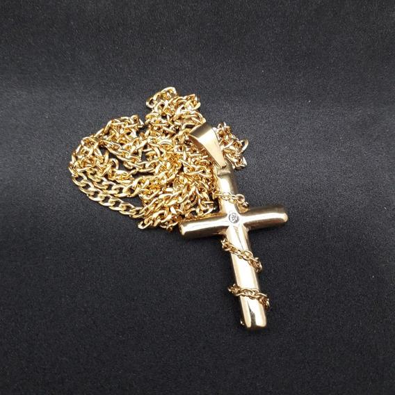 Corrente Masculina + Pingente Cruz 65cm 3mm Banhada A Ouro