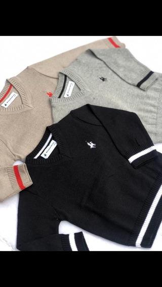 Sweater Sueter Pullover Basico Escote Cuello V Nene Niño