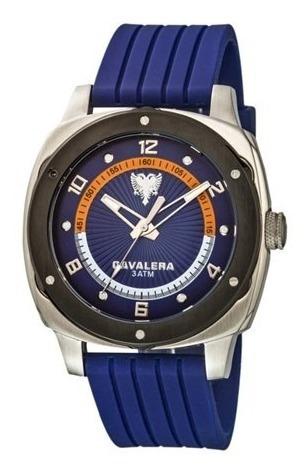 Relógio De Pulso Cavalera Prata E Azul Masculino Original