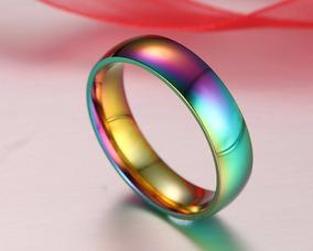 Gayfest Anel Manchado Rainbow Aço Inox Tamanho 21 Lgbt