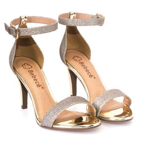 Sandália Bebece Gliter Com Salto Espelhado Ouro