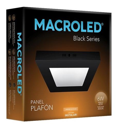 Macroled Panel Plafón Cuadrado Led 6w Cálido Black Npc06