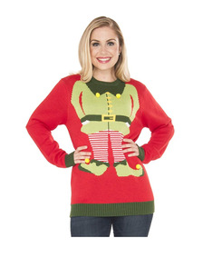 Suéter Feo Ugly Christmas Sweater Elfo Unisex Talla Chica