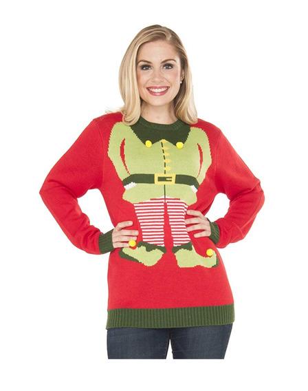 Christmas Ugly Sweater Suéter Navidad Duende Elfo Mujer