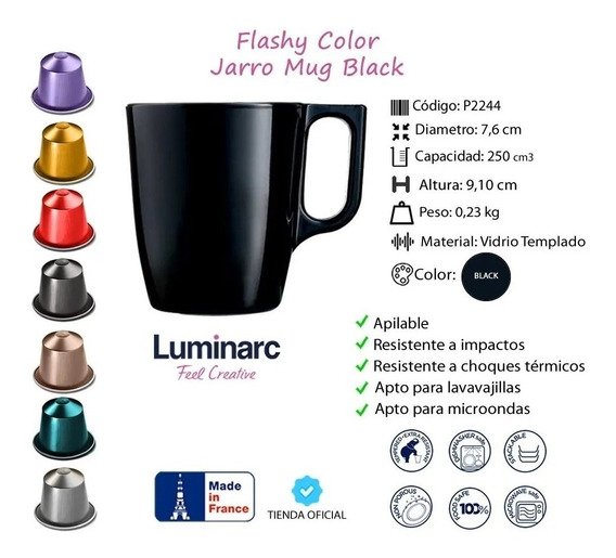 Set X 4 Taza Jarro Flashy 250 Cc Luminarc Colores