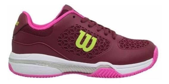 Zapatillas Wilson Match Mujer Bordó Uva Fucsia Tenis Padel