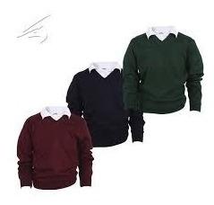 Sweater Pullover Colegial Escolar Azul, Bordo Y Verde