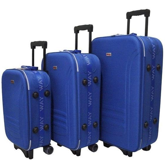 Kit Jogo Conjunto De Malas Viagem 4 Rodas Tam P M G Azul
