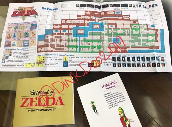 Manual, Mapa E Encartes Zelda, Nes - Repro