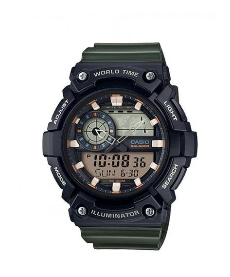 Relogio Casio World Time Aeq200-3av Preto & Verde Musgo