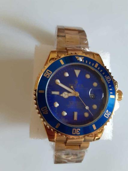 Relógio Masculino Folheado Azul 45mm