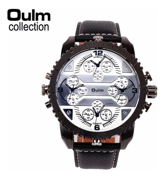 Relógio Branco De Pulso Masculino 4 Fuso Horário Oulm 3233