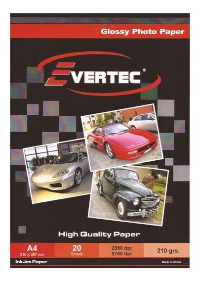 Evertec Papel Fotografico Glossy A4 210g 20 Hojas Evt-a4-210