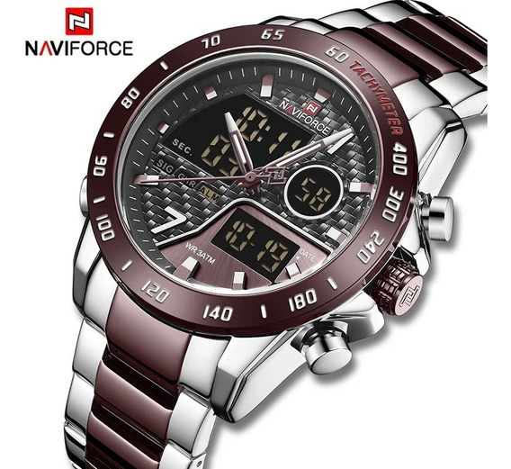 Relógio Naviforce 9171 Original Luxo Multifuncional Aço Inox