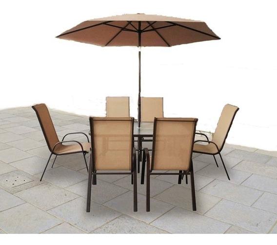 Set Comedor Jardin 8 Piezas ( Mesa + 6 Silla + Sombrilla)