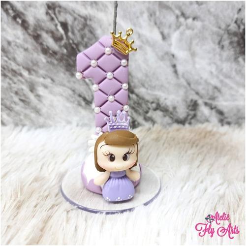 Imagem 1 de 2 de Vela Decorada Em Biscuit Aniversario Princesinha Sofia