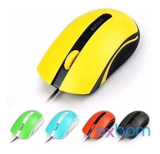 Kit- 03 Mouse Usb Óptico 1000dpi Color 3d Exbom Ms-50