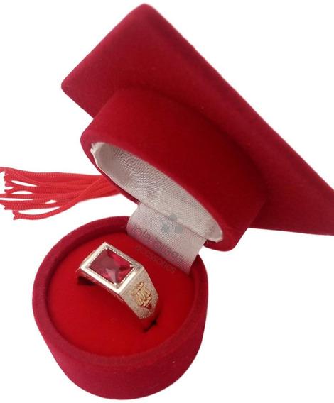 Anel De Formatura Masculino Em Prata 950 E Símbolos Ouro 18k