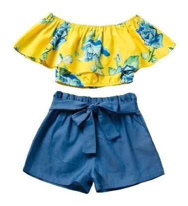 Set Conjunto Niña Blusa Y Short Amarillo