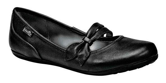 Zapato Piso Escolar Mujer Coqueta Negro Piel Moño C23293 Udt