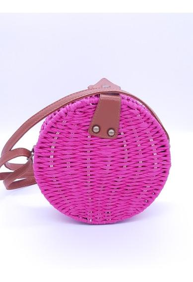 Bolsa De Palha Redonda Forrada Rattan Pink Rosa Verão Grande