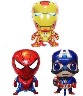 3 Globos Avengers Capitan America Iron Man Y Hombre Araña