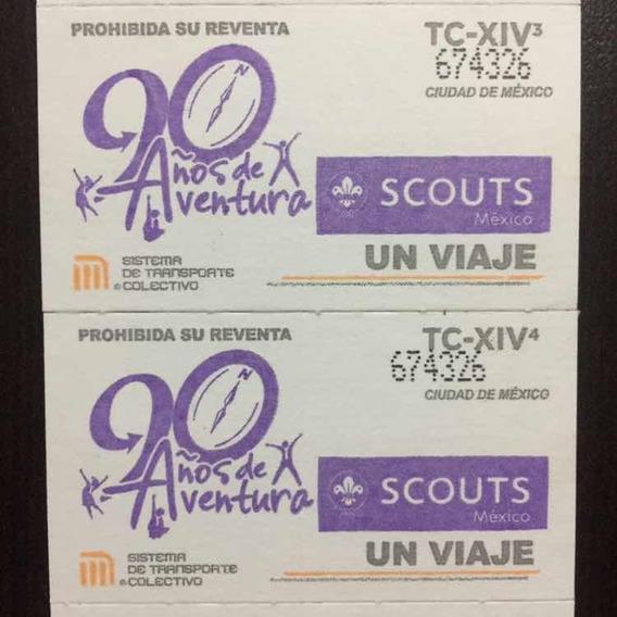1 Tira De Boletos Del Metro Scouts De México 90 Aniversario