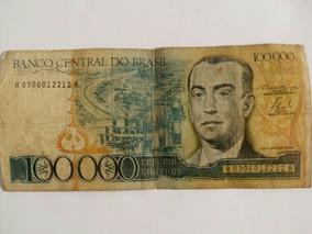 Cédula De 100000 Cruzeiros - Nota De Cem Mil