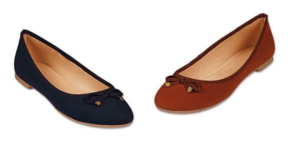 Paquete Kit 2 Pares Zapato Flat Dama Mujer Casual Moda