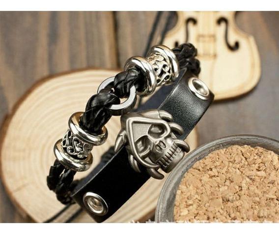 Pulseira Bracelete Caveira Rock Couro Preta Unisex - 16