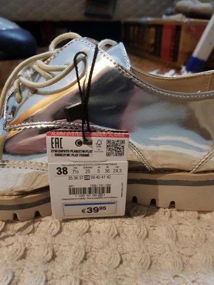 Zapatos Zara Mujer Charolados Plata T 38 Europeos