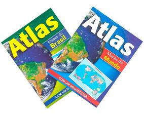 Atlas Mapas Do Brasil + Mapas Do Mundo Com 2 Mega Pôsteres
