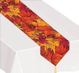 Beistle 90019 Impreso Fall Leaf Table Runner 11 X 6
