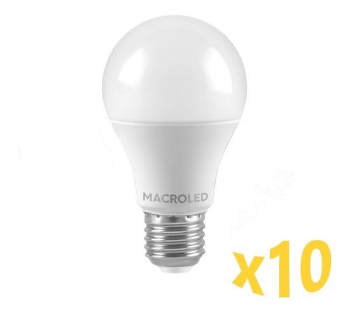 Imagen 1 de 5 de Pack X10 Macroled Lampara Led Bulbo A60 12w Bco Cálido E27