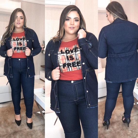 Parka Jaqueta Max Casaco Sobretudo Jeans Plus Size Feminina