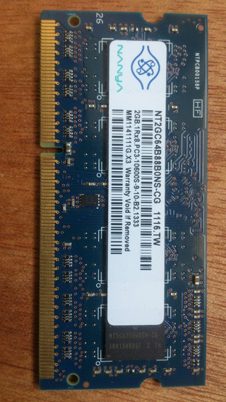 Memoria Nanya Para Laptop 2gb 1rx8 Pc3 10600s 9 10b2 1333