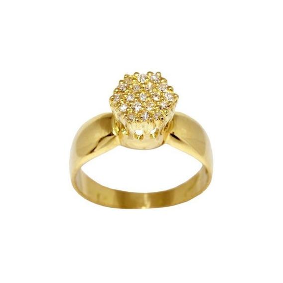 Anel Chuveiro Ouro 18k Com Pedras Diamantes Código 896