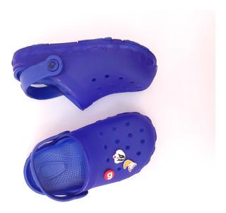 Sapo Con Luz Sueco Goma Niño Cross Gummi Ojota Chinela Azul