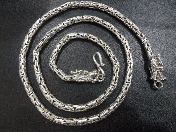 Corrente De Bali Ponto Peruano Masculino Em Prata 925