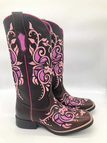 Bota Country Texana West Country Rosa Com Brilho
