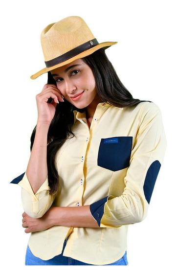 Blusa Porto Blanco Dama Amarilla Moda Lisa Algodon D-449