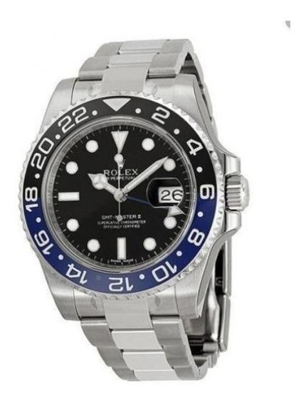 Relógio Gmt Master Automático Azul/preto Safira Cerâmica