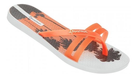 Ojota Ipanema Flip Print Fem Blanco / Naranja