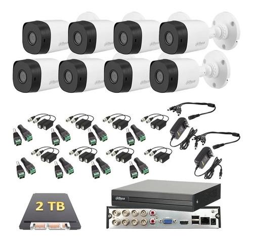 Imagen 1 de 6 de Kit Video Vigilancia 8 Cámaras 4 Mp Dahua Cctv 2 Tb Baluns