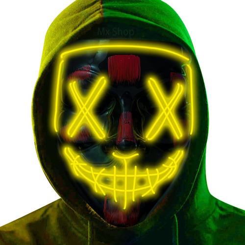 Imagen 1 de 6 de Máscara Luz Led La Purga Halloween La Purga Colores Calidad